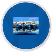 Blue Shrimp Boats Round Beach Towel