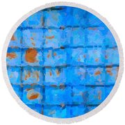 Blue Shutter And Rust Round Beach Towel
