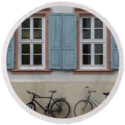 Blue Shutters And Bicycles Round Beach Towel