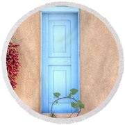 Blue Shutters And Chili Peppers Round Beach Towel