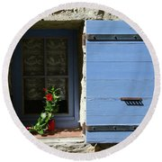Blue Shutters Round Beach Towel