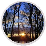 Round Beach Towel featuring the photograph Blue Skies And Golden Sun by J R Seymour