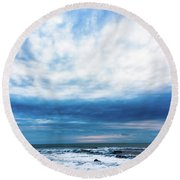 Emotion And Departure At Half Moon Bay Round Beach Towel