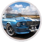 Blue Skies Cruising - 1967 Eleanor Mustang Round Beach Towel