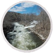Blue Skies Over The Housatonic River Round Beach Towel