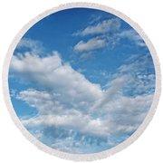 Blue Skies Round Beach Towel by Susan Stone