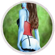 Blue Skinned Vixen Round Beach Towel