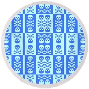 Blue Skull And Crossbones Pattern Round Beach Towel