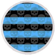 Blue Skull Stripes Round Beach Towel