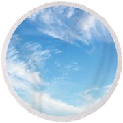 Blue Sky And Clouds Abstract Round Beach Towel