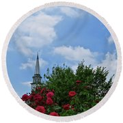 Blue Sky And Roses Round Beach Towel by Nancy Patterson