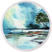 Round Beach Towel featuring the painting Blue Sky by Anil Nene