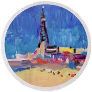 Round Beach Towel featuring the painting Blue Sky Blackpool by Nop Briex