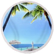 Round Beach Towel featuring the photograph Blue Sky Breezes by Phil Koch