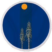 Round Beach Towel featuring the painting Blue Sky by David Dehner