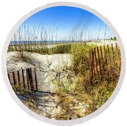 Round Beach Towel featuring the photograph Blue Sky Dunes by Debra and Dave Vanderlaan
