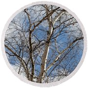 Blue Sky In The Middle - Round Beach Towel