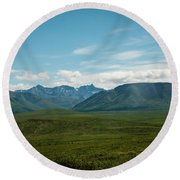 Blue Sky Mountians Round Beach Towel
