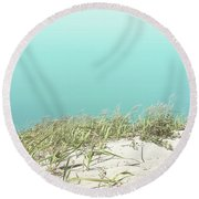 Round Beach Towel featuring the photograph Blue Sky Over Sea Grass by Cindy Garber Iverson