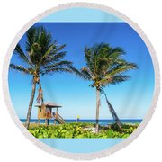 Blue Sky Palms Delray Beach Florida Round Beach Towel