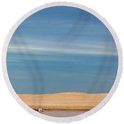 Blue Sky Pelicans Round Beach Towel