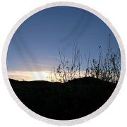 Round Beach Towel featuring the photograph Blue Sky Silhouette Landscape by Matt Harang