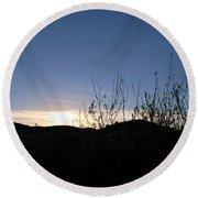 Blue Sky Silhouette Landscape Round Beach Towel