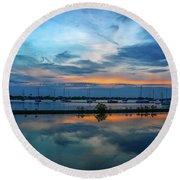 Blue Sky Sunset Round Beach Towel by Tom Claud