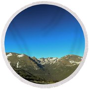 Blue Skys Over The Rockies Round Beach Towel