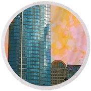 Round Beach Towel featuring the photograph Blue Skyscraper Seattle by Yulia Kazansky
