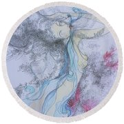 Round Beach Towel featuring the drawing Blue Smoke And Mirrors by Marat Essex