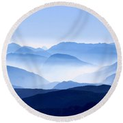 Blue Smoky Mountains Round Beach Towel