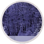 Round Beach Towel featuring the photograph Blue Snow by David Dehner