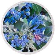Blue Splash - Flowers Of Spring Round Beach Towel by Miriam Danar