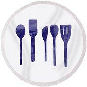 Blue Spoons- Art By Linda Woods Round Beach Towel