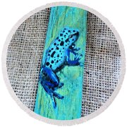 Blue-spotted Tree Frog Round Beach Towel by Ann Michelle Swadener