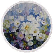Round Beach Towel featuring the painting Blue Spring by Elena Oleniuc
