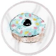 Blue Sprinkle Donut- Art By Linda Woods Round Beach Towel