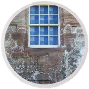 Round Beach Towel featuring the photograph Blue Squares In The Castle Window by Christi Kraft
