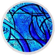 Blue Stained Glass Detail 1  Round Beach Towel