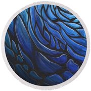 Blue Stained Glass Round Beach Towel