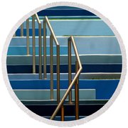 Stairs Blue Abstract In New Orleans Louisiana Round Beach Towel by Michael Hoard