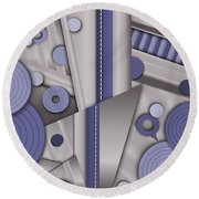 Blue Steel Round Beach Towel