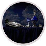 Round Beach Towel featuring the photograph Blue Still Life by Alexa Szlavics