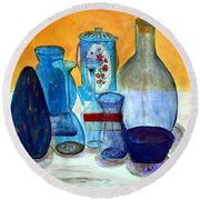 Blue Still Life Round Beach Towel