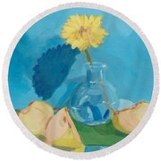 Blue Still Life Apple Flower Round Beach Towel
