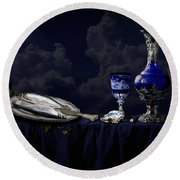 Still Life In Blue Round Beach Towel