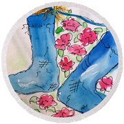 Blue Stockings Round Beach Towel