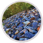 Blue Stone Hill  Round Beach Towel