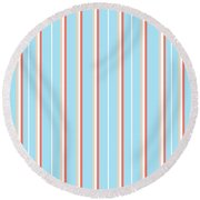 Blue Stripe Pattern Round Beach Towel